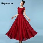 Ryseleco 2017 Women European Summer style Chiffon Short Sleeve Long Party Dresses Female Elegant Floor Length White Lace Vestido