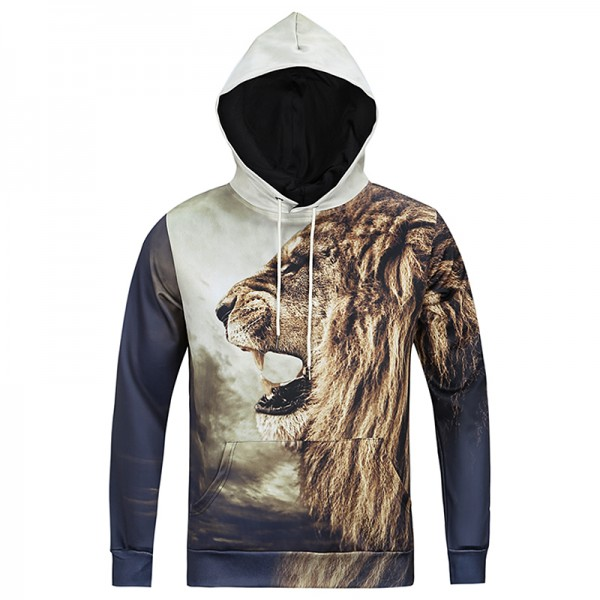 S-3XL Mens Fierce Lion Printed Sweatshirt 3D Animal Hoodie Raglan Sleeve Printing Casual Outwear Sweat Homme Sudadera Hombre