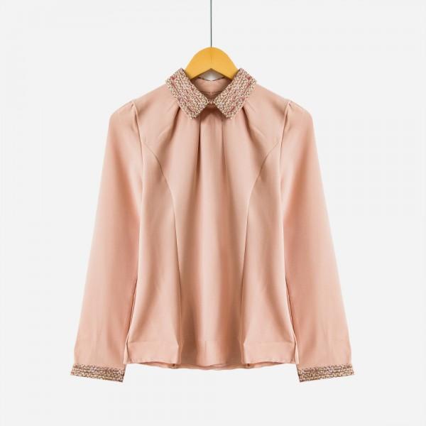 S-XXL  New Fashion Women Long Sleeve Chiffon Blouse Shirt Peter Pan Collar Lantern Sleeve Women Blouse Tops T5O205