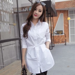 S006 long shirt dress spring 2016 new Korean fashion all-match tie waist long sleeved white shirt