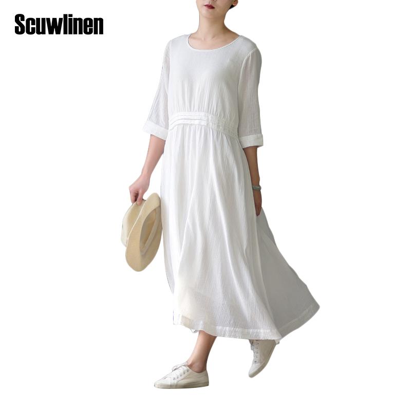 SCUWLINEN Vestidos 2017 Spring Summer Dress O-neck Half-sleeve Long ...
