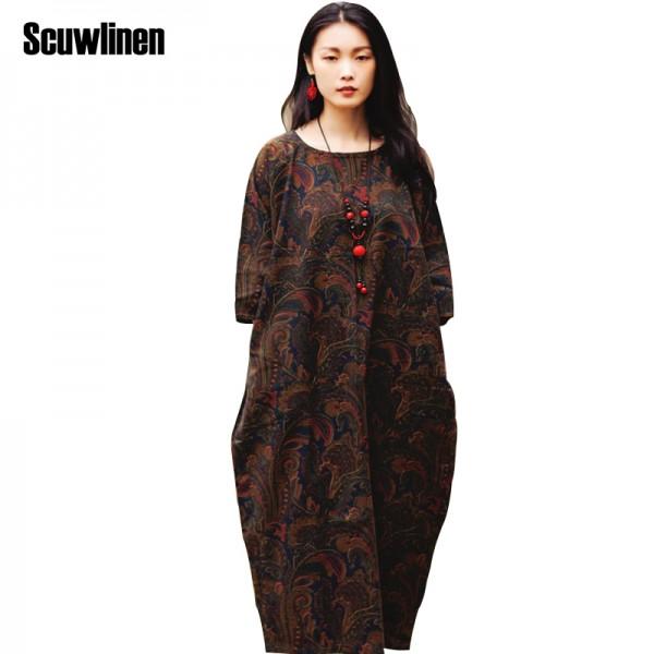 SCUWLINEN Vestidos 2017 Summer Dress Vintage Print Long Plus Size Linen Dress Casual Loose Print Robe Women Party Dress