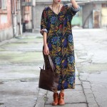 SCUWLINEN Women Dress 2017 Summer Linen V-neck Vintage Print Long-sleeve Loose-waist Hem Split Long Maxi Vintage Dress 0144