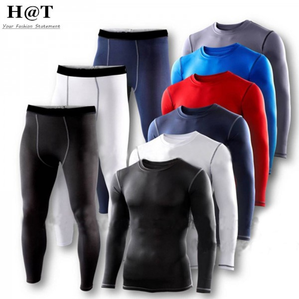 SE19 Mens Man Clothes Sets Compression Base Layers Armour Top Skins Shirt Casual T-shirts+Tight Pant Leggings New 2016 S-XXL