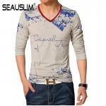 SEAUSLIM Spring Autumn Men T-shirt Long Sleeve V-neck Men Cotton Tees Tops Men Print Casual T-shirt Plus size S- 5XL Q-SHYR-1