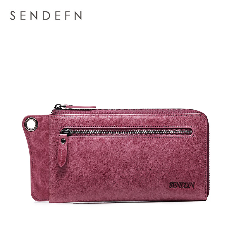 21724dfda972 SENDEFN Wallet New Fashion Wallet Women Genuine Leather Wallet Brand Women  Purse Long Purse Coin Purse Money Bag For iPhone7S