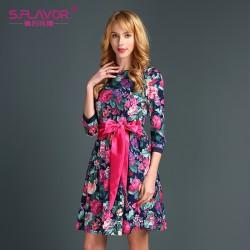 S.FLAVOR Brand women Autumn dresss Newest O-neck three quarter waist mini dress with belt for female casual printing mini dress