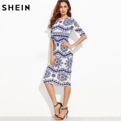 SHEIN Spring Print Dress Women Dresses Blue and White Porcelain Round Neck Three Quarter Length Sleeve Midi Bodycon Pencil Dress