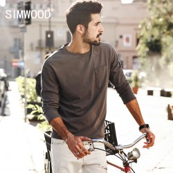SIMWOOD 2017 New Spring  T shirts  Men Long sleeve  100% Pure Cotton Fashion Brand Clothing  Slim Fit Plus Size TL3512