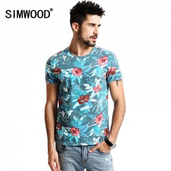 SIMWOOD 2017 Spring Summer Hawaiian  T Shirts Men 100% Pure Cotton Brand Clothing Print  Tees Plus Size Slim Fit TD1168
