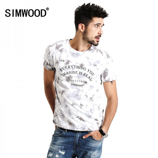 SIMWOOD 2017 Spring Summer New Arrival Print Letter T Shirts Men Casual Tees 100% cotton Plus Size TD1156