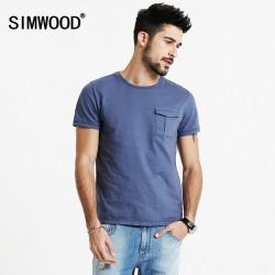 SIMWOOD 2017 Spring Summer New Arrival T Shirts Men 100% Pure Cotton Pocket Short Sleeve Tees TD1154
