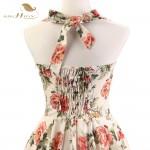 SISHION 100% Cotton Halter Rockabilly Summer 50s 60s Retro Vintage Dresses Floral Print Swing Housewife Elegant Dress VD0077