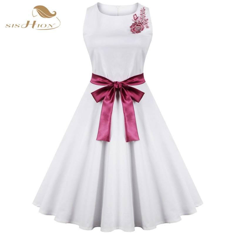 9454fa69d SISHION 50s 60s Vintage Dress Hepburn Retro Swing Sleeveless Party Gown  Plus Size Elegant Women Summer White Dresses VD0274