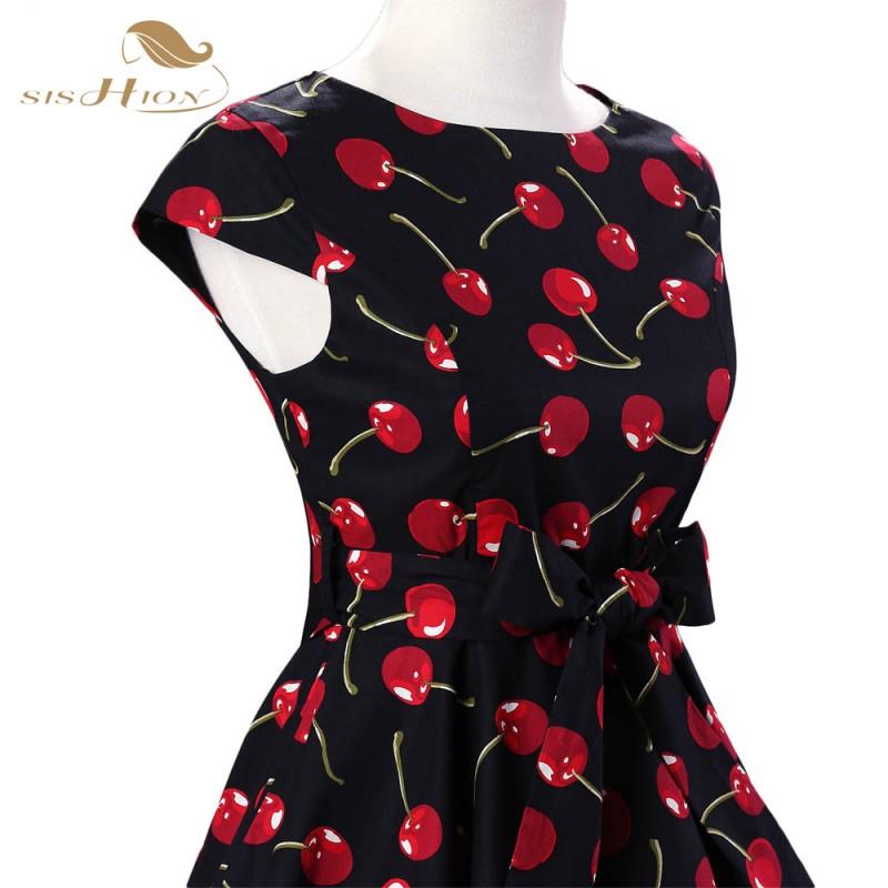 SISHION Cap Sleeve 50s Dress robe femme Ladies Summer Plus ...