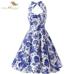 SISHION Halter 50s Floral Dress Retro Plus Size Women Audrey Hepburn Elegant Vintage 50s Rockabilly Dress Vestidos VD0073