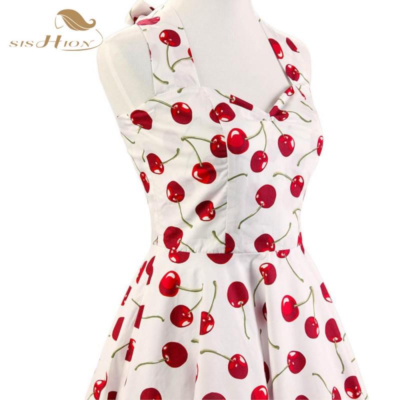 3d5c43d7fc2 SISHION Halter Pin Up Audrey hepburn 50s 60s Vintage Dress Short Cherry  Print Floral Swing Retro Rockabilly ...