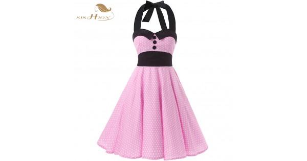 Sishion Halter Pink Dress Plus Size Women Summer Dresses Short