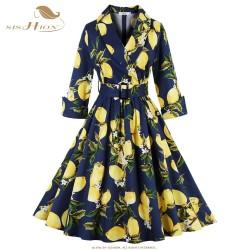 SISHION Lemon Print Women Dress S-4XL Plus Size 3/4 Sleeve Retro Swing Vintage Dress 50s 60s Party Winter Autumn Dresses VD0398