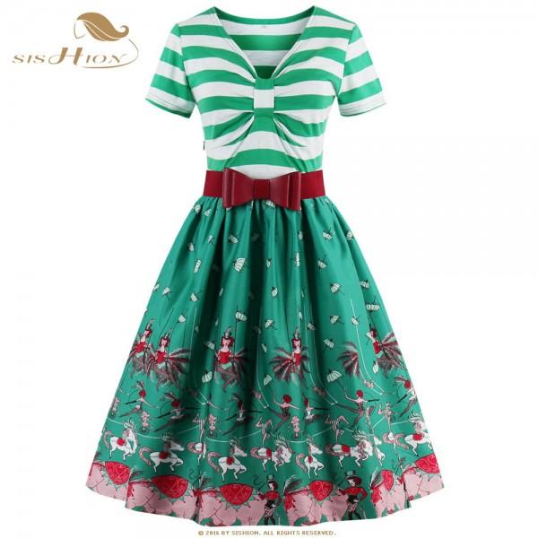 SISHION New Print and Striped 50s Retro Vintage Dress S-4XL Plus Size Short Sleeve Yellow Blue Green Women Summer Dress VD0446