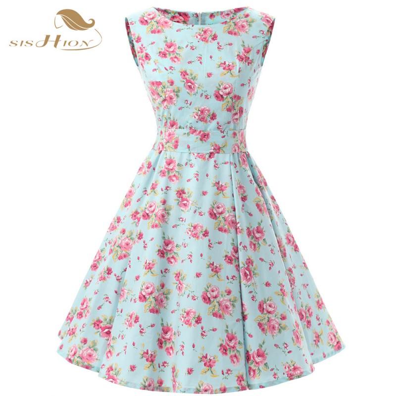 SISHION Women Floral Summer Dresses Sleeveless Retro 50s Plus Size ...