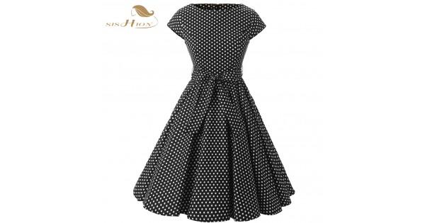 d7efa1b0f2 SISHION Women Summer Black Party Dresses Retro Rockabilly Big Swing Plus  Size Polka Dot 50s Vintage Dress Tunic vestidos VD0230