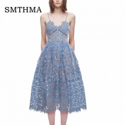 SMTHMA 2018 New arrive  Spring and Summer Runway  Sexy V-neck flower Lace  Long Dress