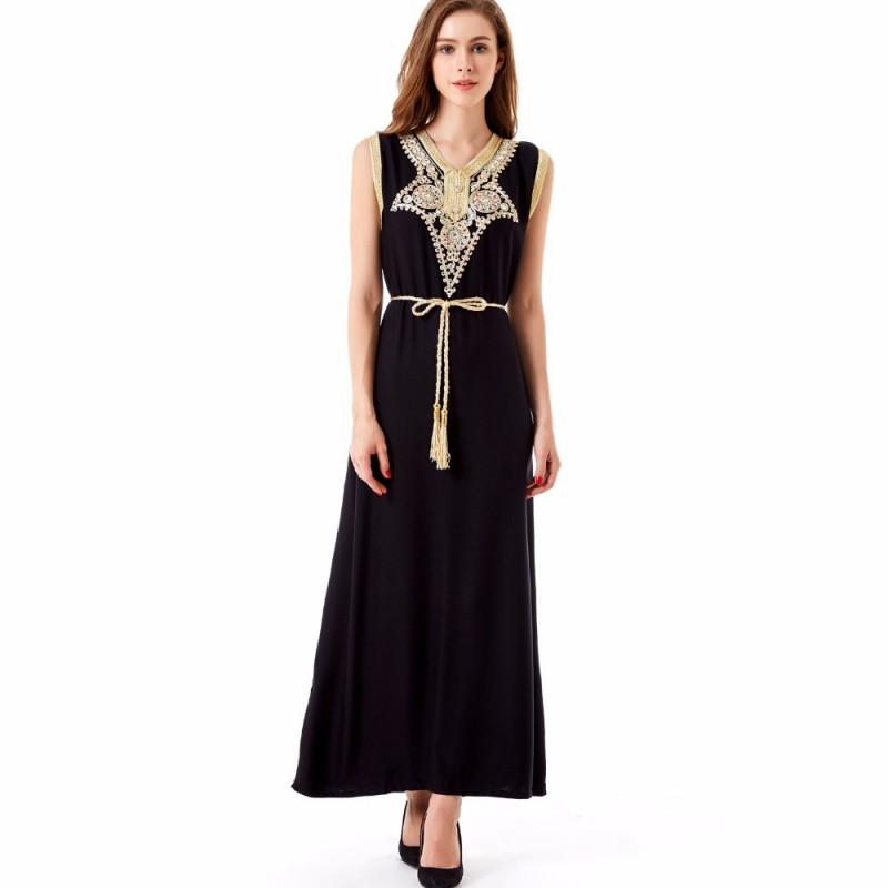 a35e25211e1 SUMMER boho style islamic muslim women clothing kaftan caftan bohemian  vintage embroidery long maxi dress vestidos de festa 1621