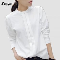 Saiqigui  Spring New Women Shirts Blouses Korean Blusas Plus Size Elegant Ladies OL Cotton Long Sleeve White Shirt for Women