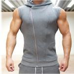 Seven Joe Mens Sleeveless Sweatshirt Hoodies Top Clothing Hooded Tank Top Sporting Hooded for Men Cotton Solid hoodies
