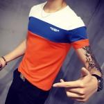 Seven Joe.New Summer T Shirt homme mens T-shirt Slim O-Neck Short-Sleeve splicing cotton t-shirts fashion patchwork  Tees Tops