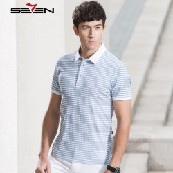 Seven7 Men Slim Fit Polo Shirts Short Sleeve Contrast Color Striped Fashion Polo Shirts Casual Breathable Polo Shirts 110T50330