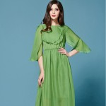 Sexy Dress 2016 Summer Wmen's Sicilian Style Fashion Daily Short Petal Sleeve Back V-neck Floor-Length Green Maxi Dress