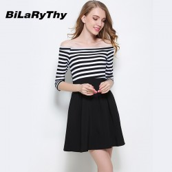 Sexy Women Black And White Striped Patchwork Slash Neck Off The Shoulder Three Quarter Mini Cute Autumn Dress