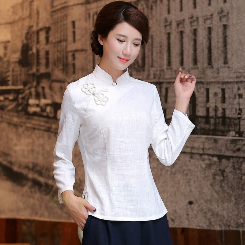 982f60adbaa Shanghai Story national chinese style top Long Sleeve Cheongsam top  traditional Chinese Top Women s Linen blouse top