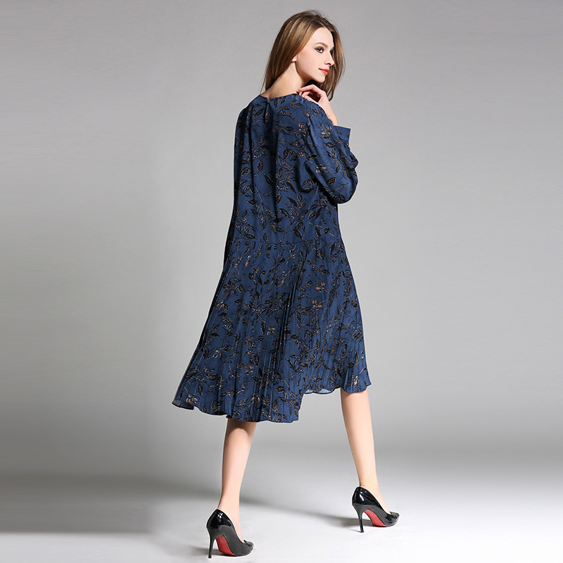 Shanto Pleated Plus Size Printed Vintage Dress Long Sleeve For Women