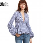 SheIn Blouse Office Lady Woman Blue Striped Deep V Neck Lantern Sleeve Box Pleated Peplum Top Womens Elegant Long Sleeve Blouse