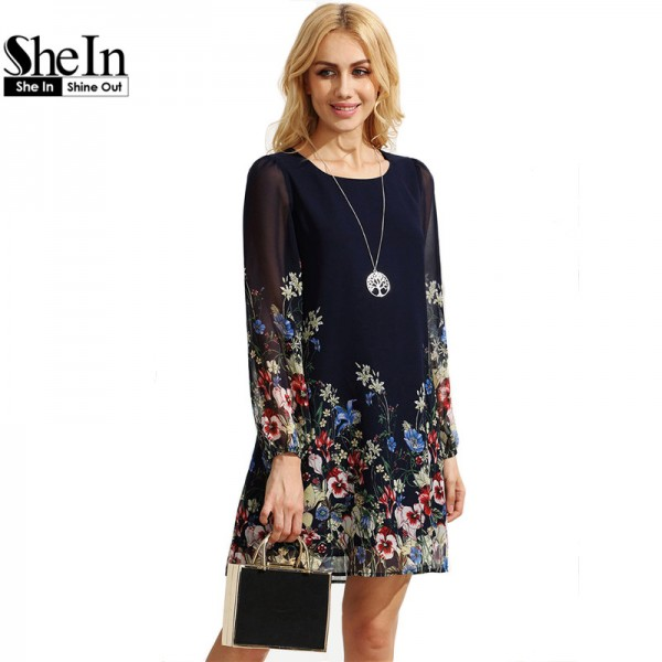 SheIn Casual Boho Autumn Dresses For Women Multicolor Round Neck Long Sleeve Floral Print Straight Chiffon Dress