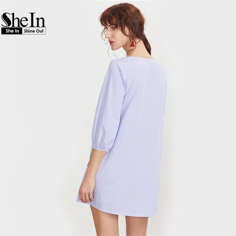 669469785a SheIn Embroidered Blue Striped Button Front Lantern Sleeve Boho Dress V Neck  Three Quarter Length Sleeve ...