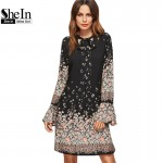 SheIn Korean Women Clothing Floral Print Dresses Women	 Spring Black Tie Neck Long Flare Sleeve Casual A Line Dress