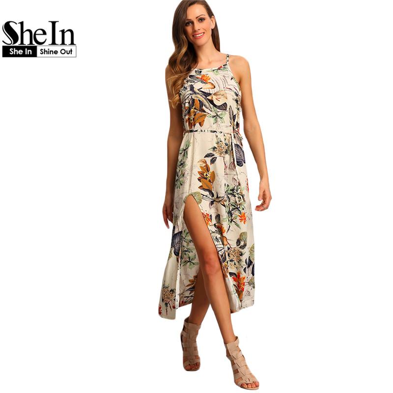 04c4006f49 SheIn Multicolor Floral Print Halter Boho Maxi Dresses Women Summer Beach  Spaghetti Strap Patterned Backless Split Dress