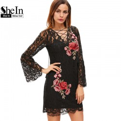 SheIn New Arrival Dress 2017 Vintage Dresses Deep V Neck Sexy Dress Black Lace Up Embroidered Rose Applique Lace Overlay Dress