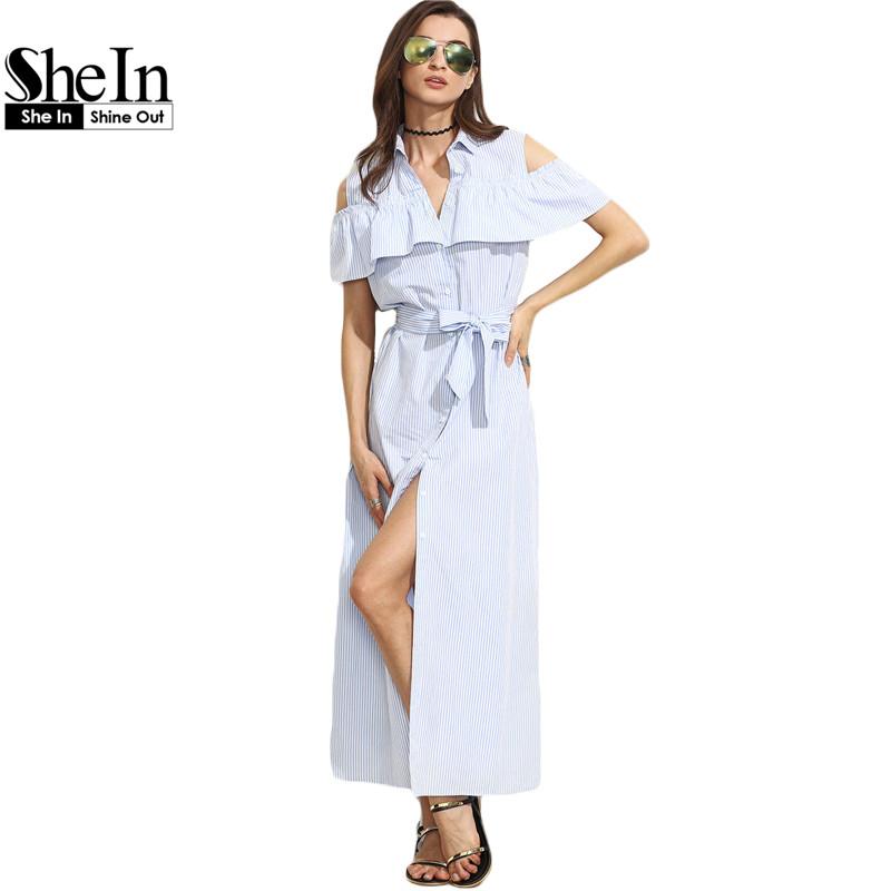 609975fb67 SheIn New Women Long Dresses Summer Ladies Blue Striped Lapel Short Sleeve  Cold Shoulder Ruffle Tie Waist Maxi Dress
