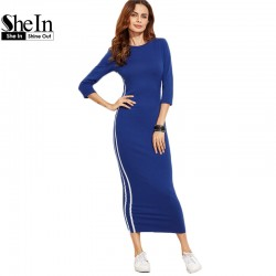 SheIn Sexy Dresses 2017 New Arrival Pencil Dress Women Blue Striped Side Three Quarter Length Sleeve Sheath Dress