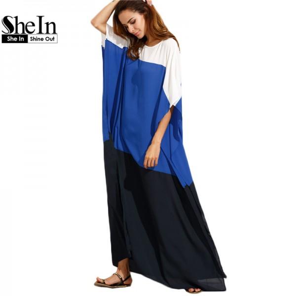 SheIn Summer Beach Dresses Casual Women Loose Dress Multicolor Round Neck Half Sleeve Color Block Split Maxi Dress