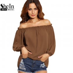 SheIn Woman Autumn Tops 2016 Women Fashion Clothing Ladies Brown Ruffle Off The Shoulder Long Sleeve Casual Loose Blouse