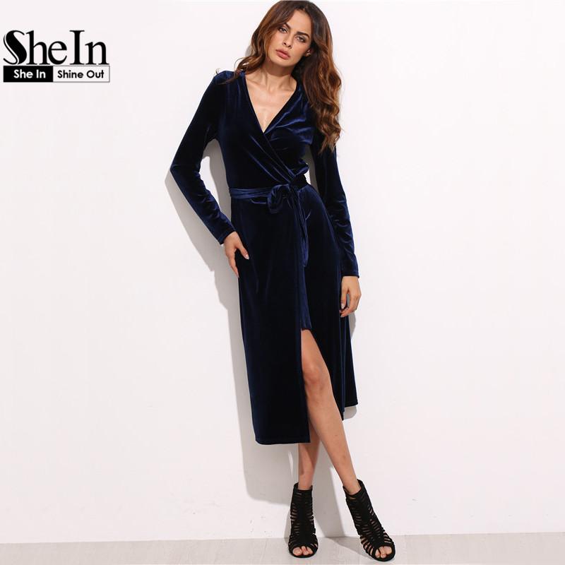 27eff9e649 SheIn Women Business Casual Clothing Royal Blue Party Dresses Navy Surplice  Front Velvet Wrap Long Sleeve A Line Dress