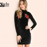 SheIn Women Dresses Autumn Women's Fashion Black Rose Print High Neck Velvet Long Sleeve Short Elegant Bodycon Dress