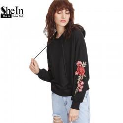 SheIn Women Hoodies Sweatshirts Streetwear Women Black Drop Shoulder Embroidered Flower Applique Pullovers Hoodie