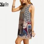 SheIn Women New Dress 2016 Summer Ladies Multicolor Round Neck Sleeveless Vintage Tribal Print V Back Straight Dress